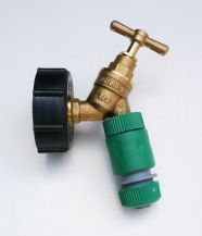 "IBC Cap (S60X6 2"") & Brass Tap to SNAP ON fitting C/W Hose Connector"